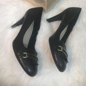 Franco Sarto Heels Womens Sz10 Black Leather Shoes